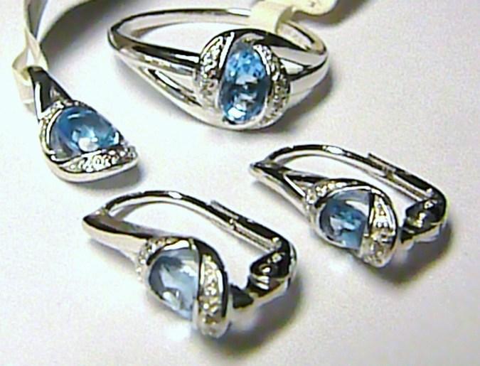 Luxusní diamantová zlatá souprava s diamanty (26ks) a 4ks (BLUE TOPAZ) - MODRÝ