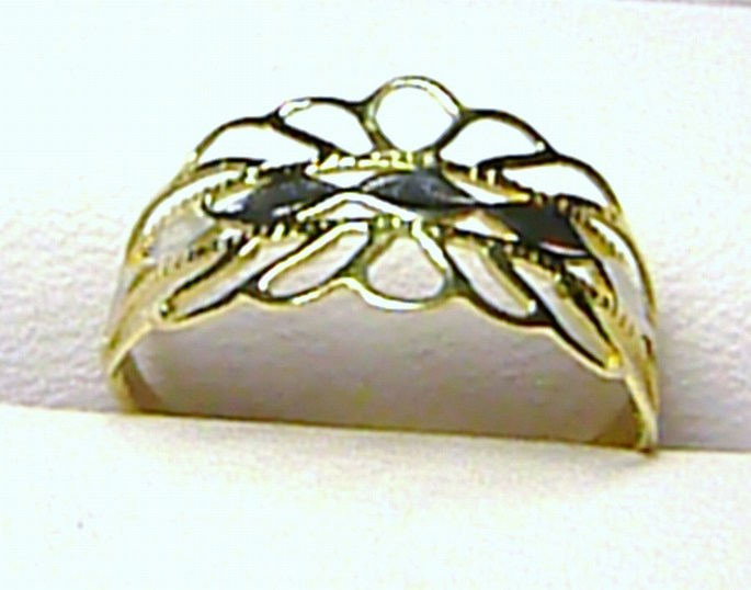 Mohutný velký široký zlatý prsten z bílého a žlutého zlata 585/1,32g vel.59 P120