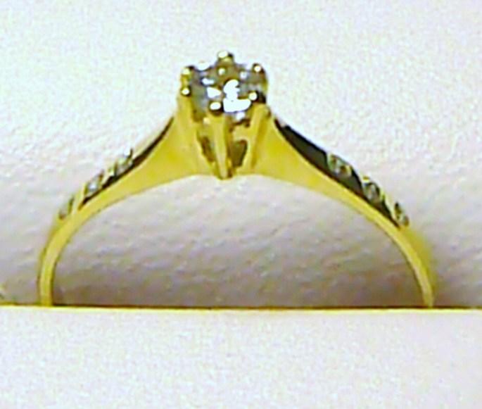 Luxusní zlatý zásnubní prstýnek s centrálním zirkonem 585/1,40 gr vel. 55 P121
