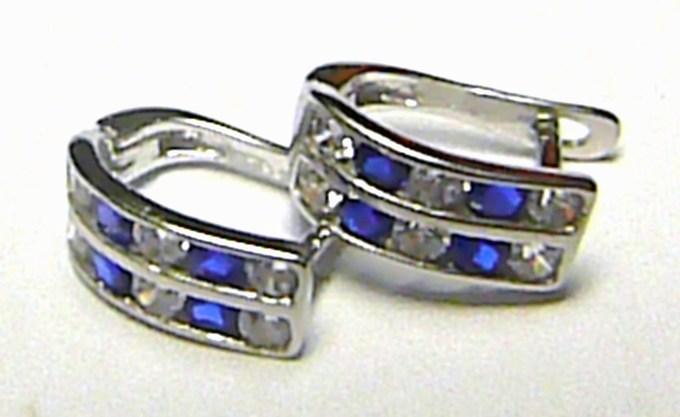 Dámské módní náušnice z bílého zlata s modrými safíry 585/1,4 gr P134