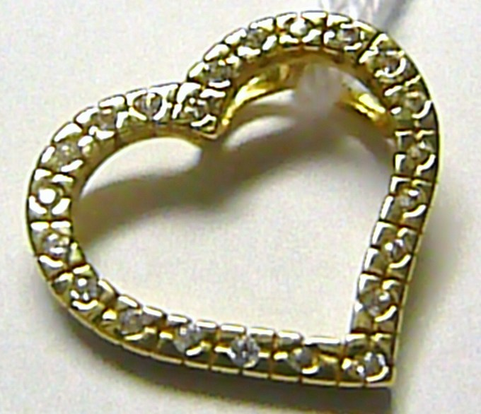 Luxusní velké zlaté srdíčko - zlatý přívěsek se zirkony 22 ks - 585/2,35 gr S113