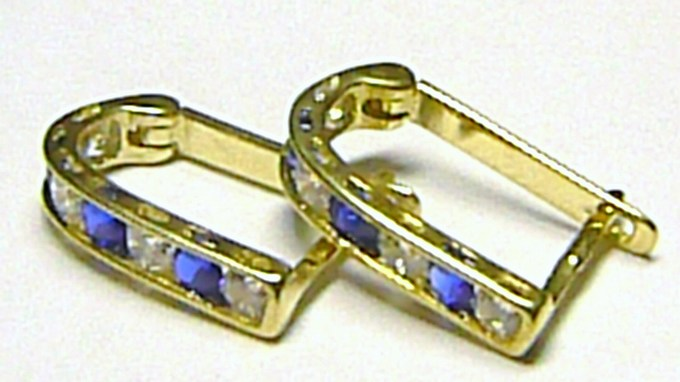 Náušnice půlkroužky ze žlutého zlata se zirkony a modrými safíry 585/1,35gr P145