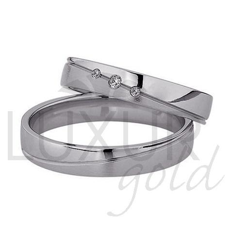 Snubní prsteny bílé zlato 436-502-503 z bílého zlata se zirkony/diamanty