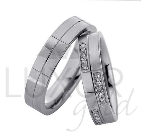 Luxusní zlaté snubní prsteny bílé zlato 436-500-501