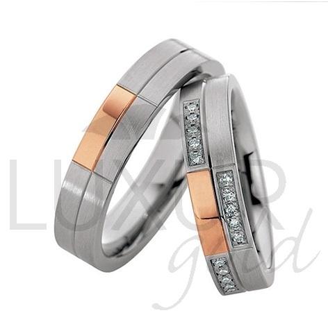 Luxusní snubní prsteny červeno bílé zlato 436-500-501.4 kombinace - cena 1ks