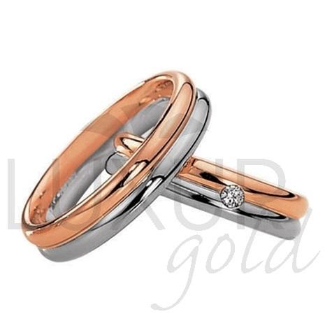 Luxusní snubní prsteny červeno bílé zlato 436-504-505.4 - kombinace zlata 1ks