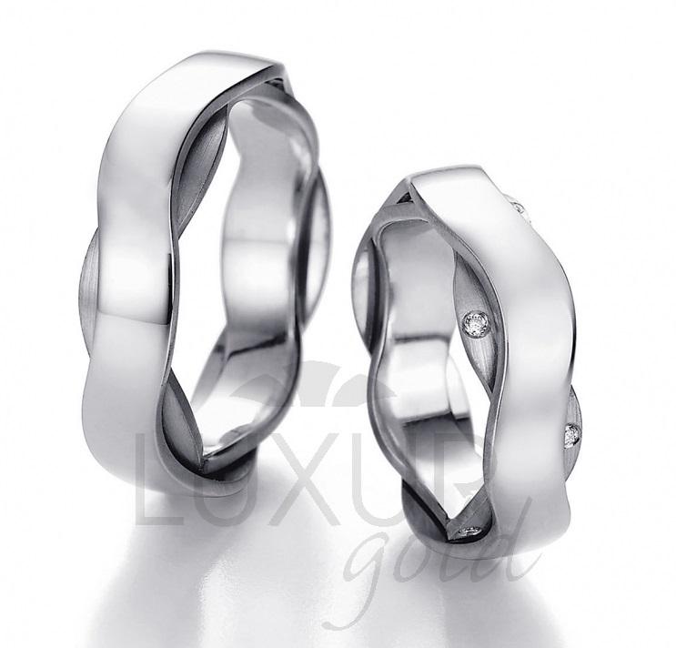 Exkluzivní snubní prsten bílé zlato, 436-512-513 - designový snubák cena 1ks
