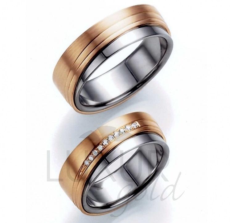 Exkluzivní snubní prsteny červeno bílé zlato, 436-518-519 - luxusní kombinace AU