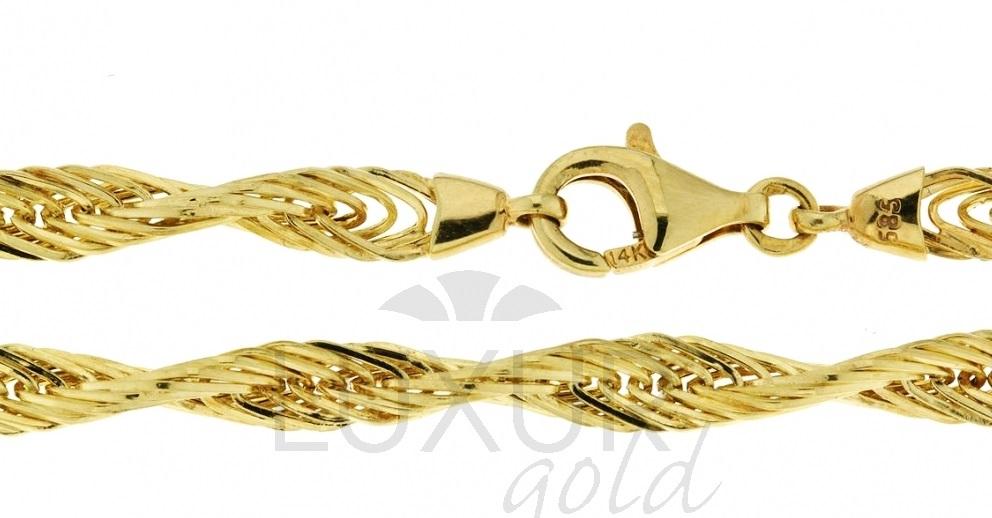 Ozdobný mohutný náramek náhrdelník ze žlutého zlata 585/18cm 3040500-0-18-0