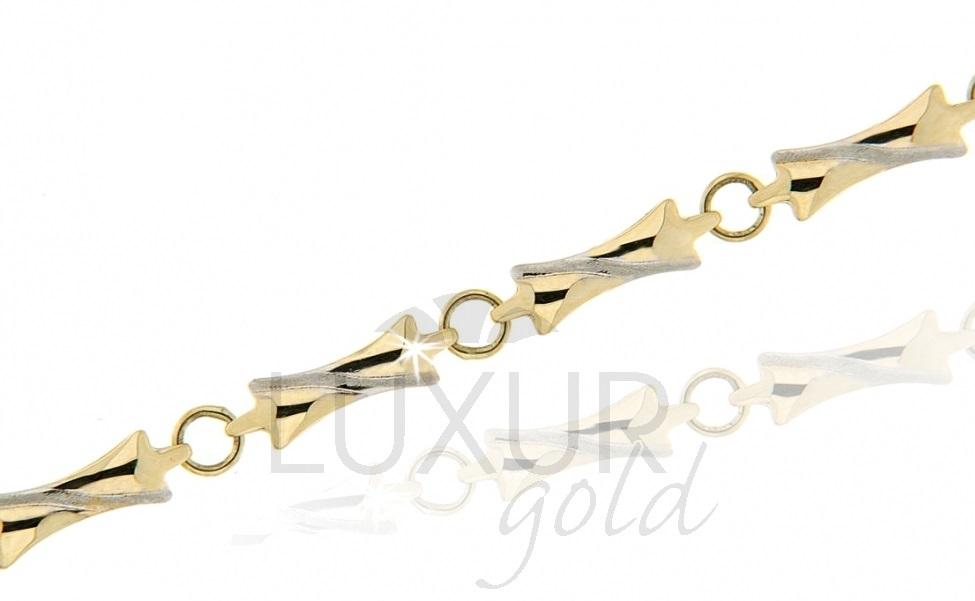 Mohutný ozdobný zlatý náramek v kombinaci zlata 585/18cm 1440101-6-18-0