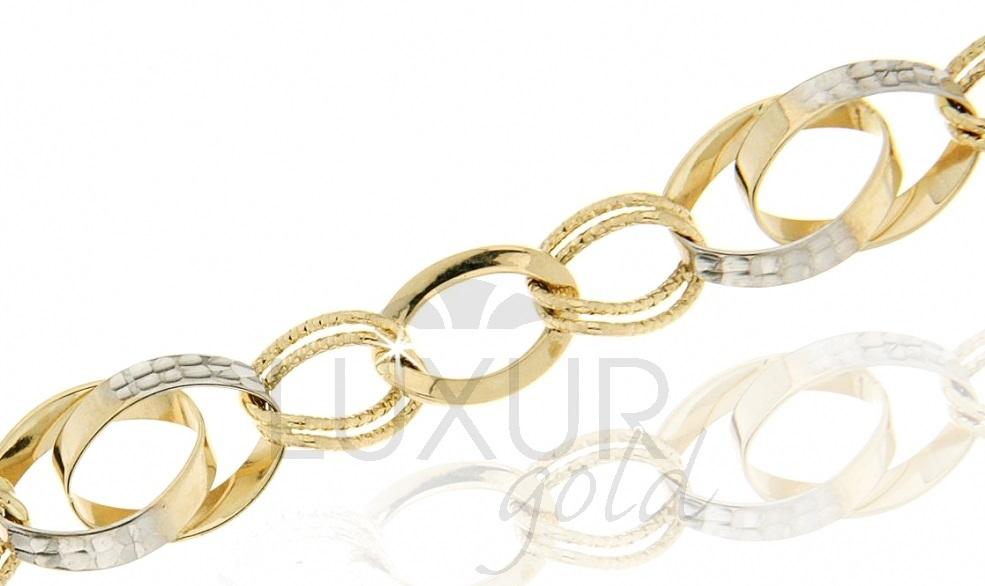 Mohutný luxusní zlatý silný náramek v kombinaci zlata 585/18cm 1440425-6-18-0
