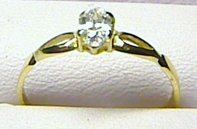 Luxusní zásnubní zlatý prsten s velkým zirkonem 585/1,20 gr vel. 55 P171