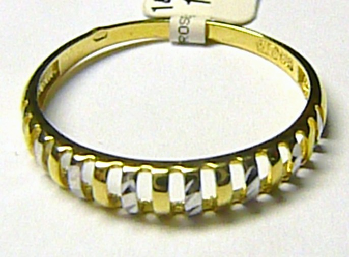 Luxusní módní zlatý prsten z bílého a žlutého zlata 585/1,15gr vel. 61 P174