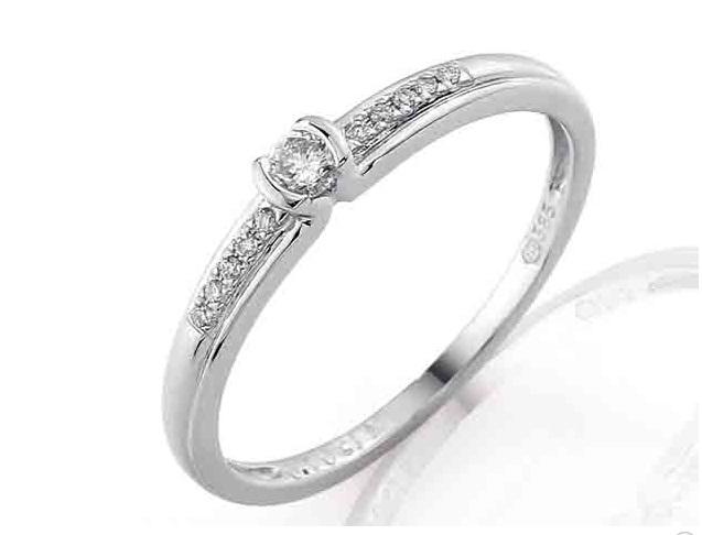 Luxusní zásnubní prsten s diamantem (11ks/0,11ct) z bílého zlata (3860829-0-52-99)