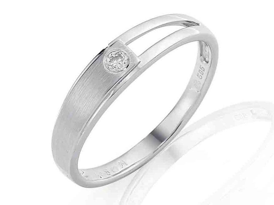 Zásnubní prsten s diamantem, bílé zlato brilianty 585/2,2gr 3861188-1-54-99 (3861188-1-54-99)