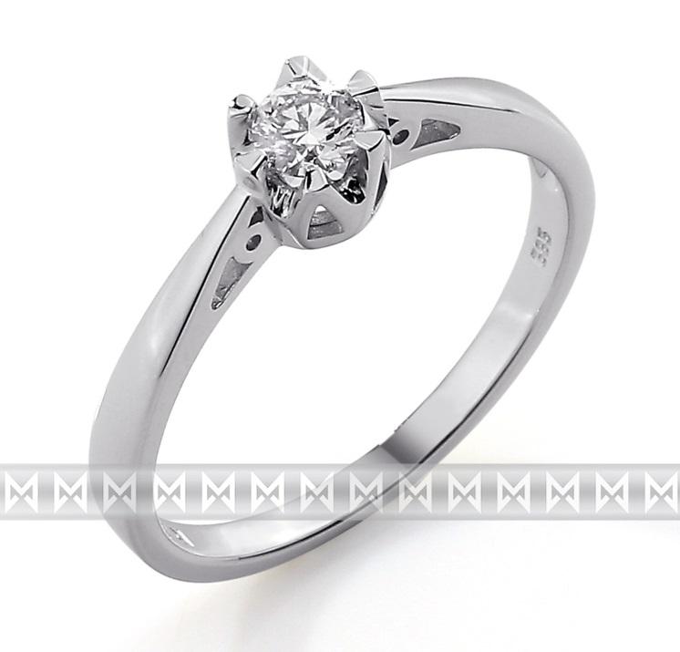 Luxusní zásnubní prsten s diamantem, bílé zlato brilianty 585/2,0gr 3861311-0-52 (3861311-0-52-99)