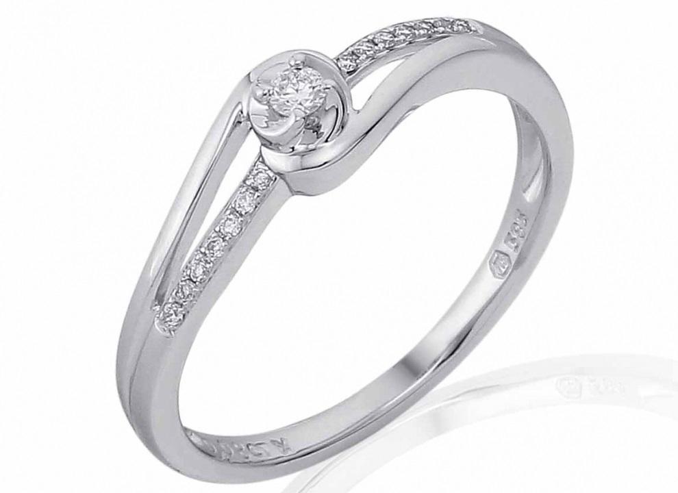 Luxusni Mohutny Zlaty Zasnubni Prsten S Diamantem Bile Zlato