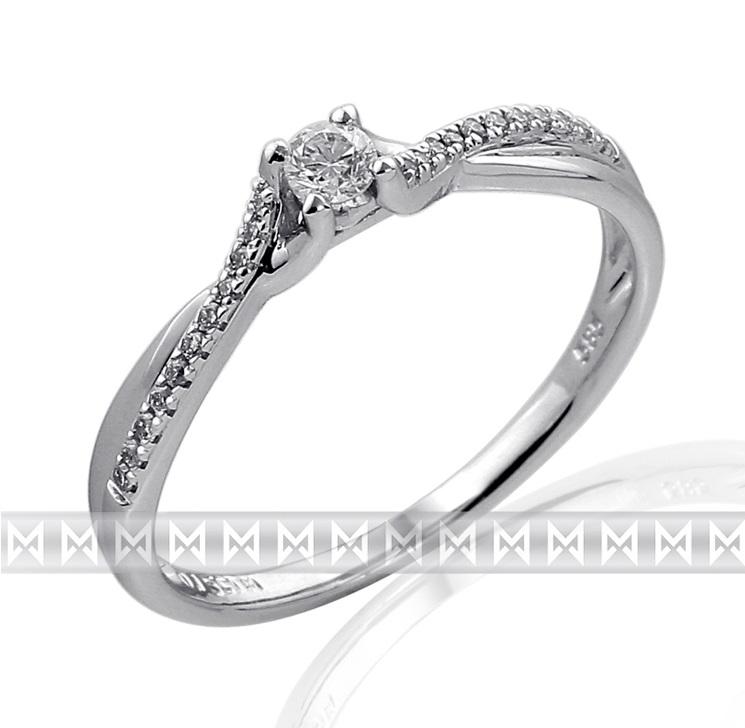 Luxusní moderní zásnubní diamantový prsten z bílého zlata 1/0,09 ct + 22/0,6ct
