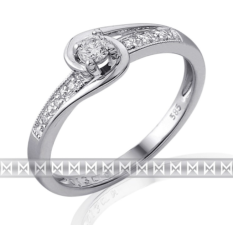 Mohutný zásnubní diamantový prsten z bílého zlata 1/0,09 ct + 6/0,03 ct 585/2,15