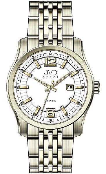 Pánské ocelové moderní zlaté hodinky JVD Steel W43.3 - stroj SEIKO 5ATM