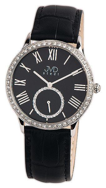Luxusní dámské černé moderní hodinky se zirkony JVD Steel W45.3 5ATM