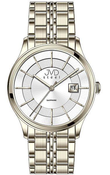 Luxusní zlaté hodinky JVD Steel W46.3 se safírovým sklem 5ATM