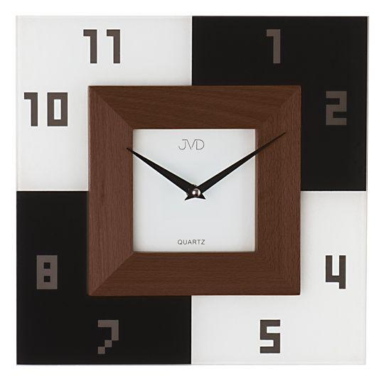 Šachovnicové hnědé skleněné moderní nástěnné hodiny JVD N204/11