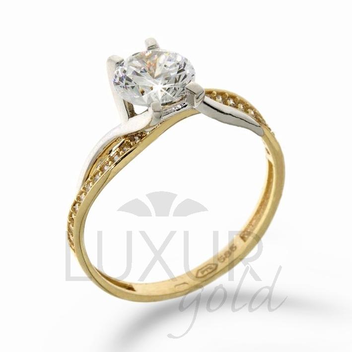 Dámský mohutný zásnubní prsten žluté zlato se zirkonem 1211091-5-52-1