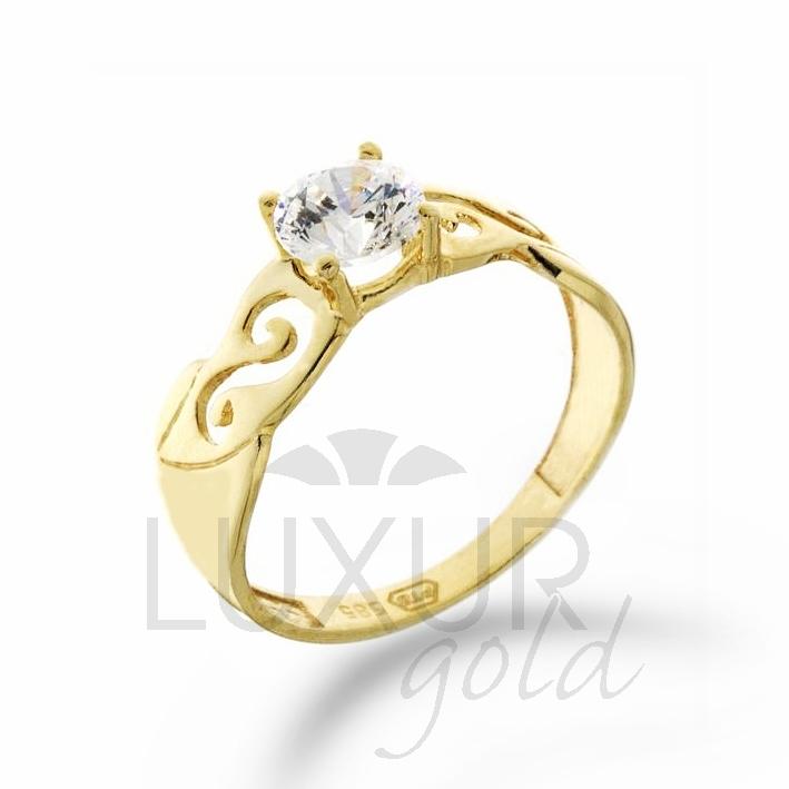 Zásnubní prsten žluté zlato se zirkonem 1211028-0-53-1
