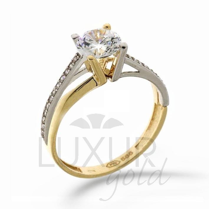 Zásnubní prsten žluté zlato se zirkonem kobinace zlata 1211105-5-52-1