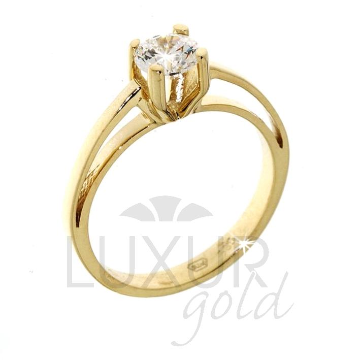 Luxusní zásnubní prsten žluté zlato se zirkonem 1211011-0-51-1