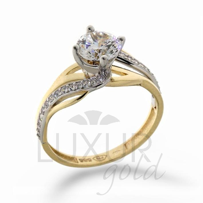 luxusní mohutný zásnubní zlatý prsten v kombinaci zlata 1211107-5-56-1