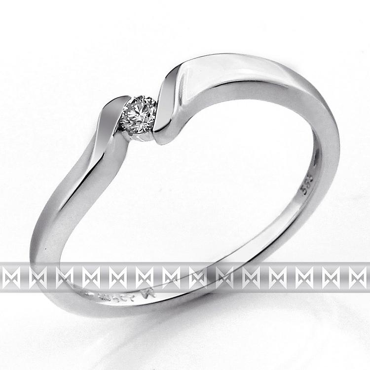 Zásnubní prsten s diamantem, bílé zlato brilianty (3860689-0-50-99)