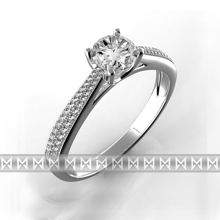 Luxusní diamantový zásnubní prsten bílé zlato briliant vel. 52 (3860605-0-52-99)