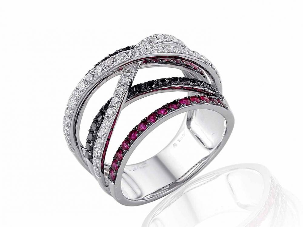 Luxusní mohutný prsten z bílého zlata s rubíny a diamanty vel. 56 3861497-0-56-9