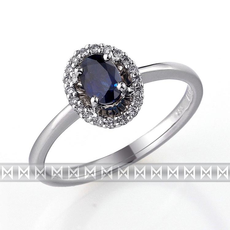 Luxusní diamantový zlatý prsten s velkým modrým safírem (KATE) vel. 55 (3860523-0-55-92)