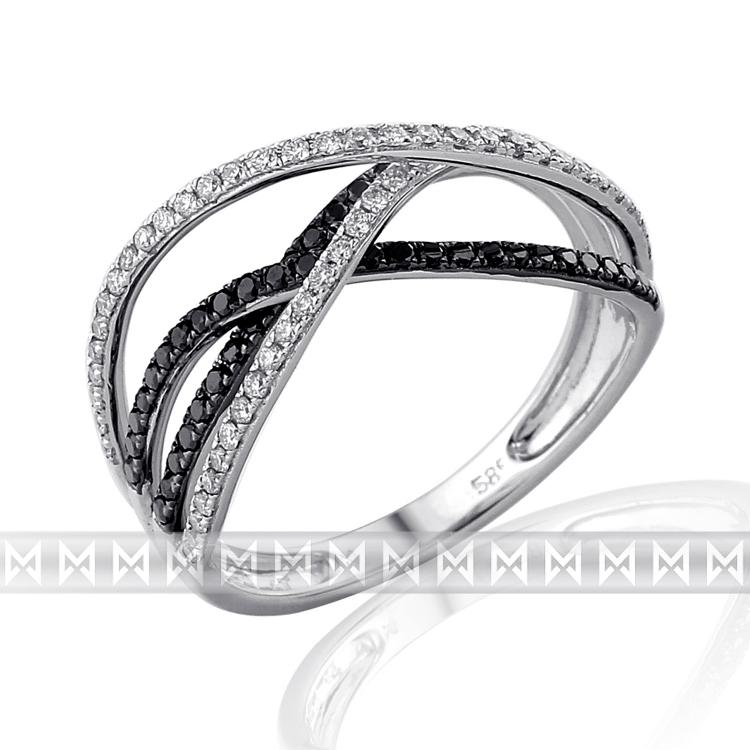 Luxusní diamantový zlatý prsten posetý černými diamanty (109ks) vel. 55