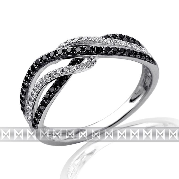 Luxusní mohutný zlatý diamantový prsten s černými diamanty (78ks) ve. 54