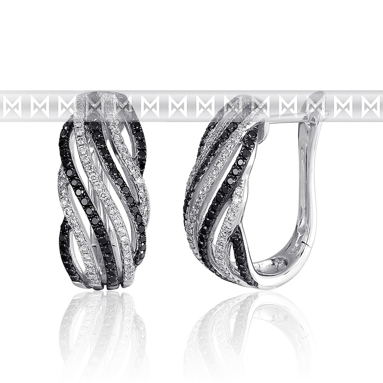 Diamantové náušnice, bílé zlato briliant, černý briliant 3880698-0-0-97