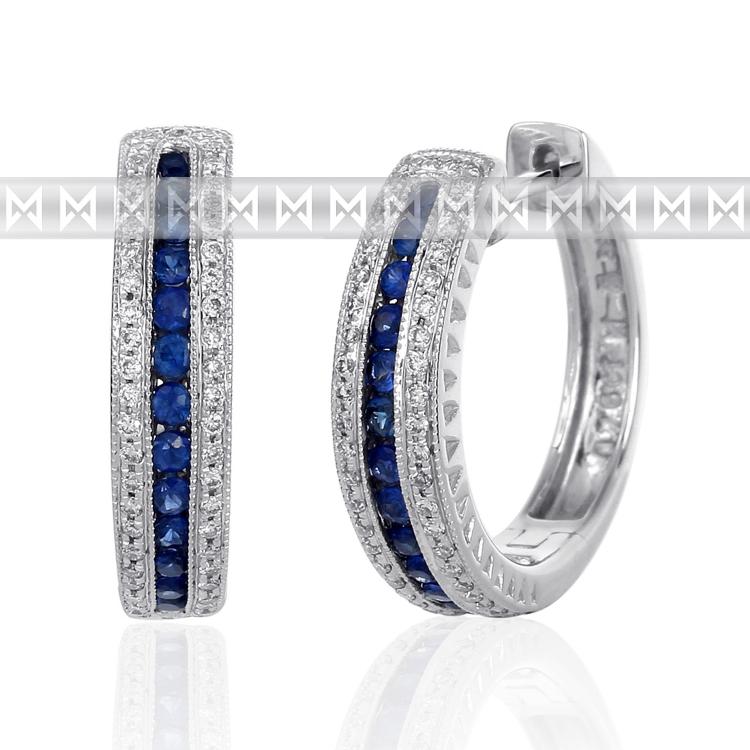 Diamantové náušnice, bílé zlato briliant, safír - kruhy osazené diamanty