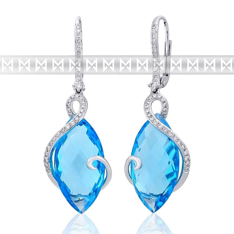 Diamantové náušnice, bílé zlato briliant, modrý topaz (blue topaz) 585/2,85 gr