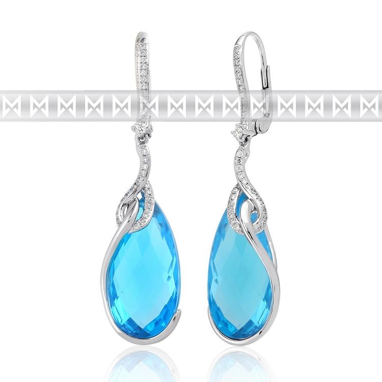 Diamantové náušnice, bílé zlato briliant, modrý topaz (blue topaz) - visací