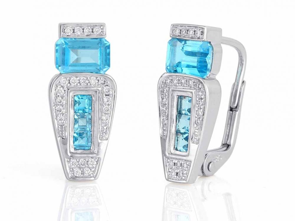 Diamantové náušnice, bílé zlato briliant, modrý topaz (blue topaz) 3880958-0-0-