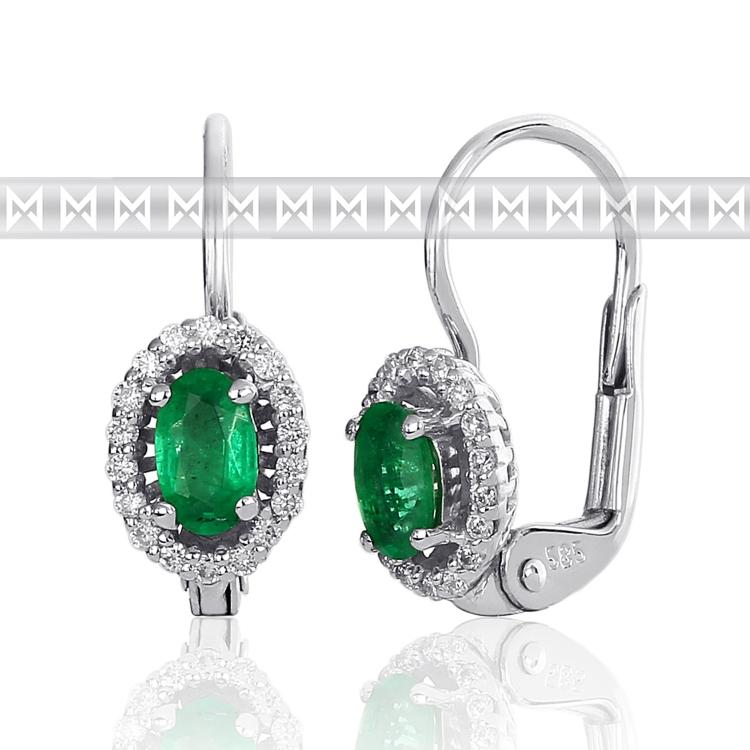Diamantové náušnice, bílé zlato briliant, smaragd (emerald) 3880122-0-0-96