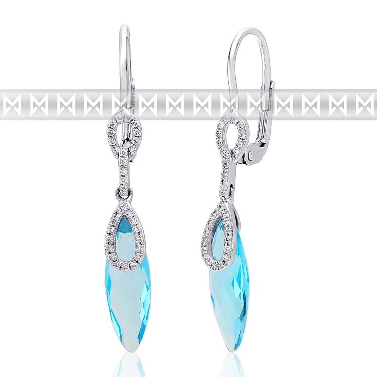 Diamantové náušnice, bílé zlato briliant, modrý topaz (blue topaz) visací náuš.