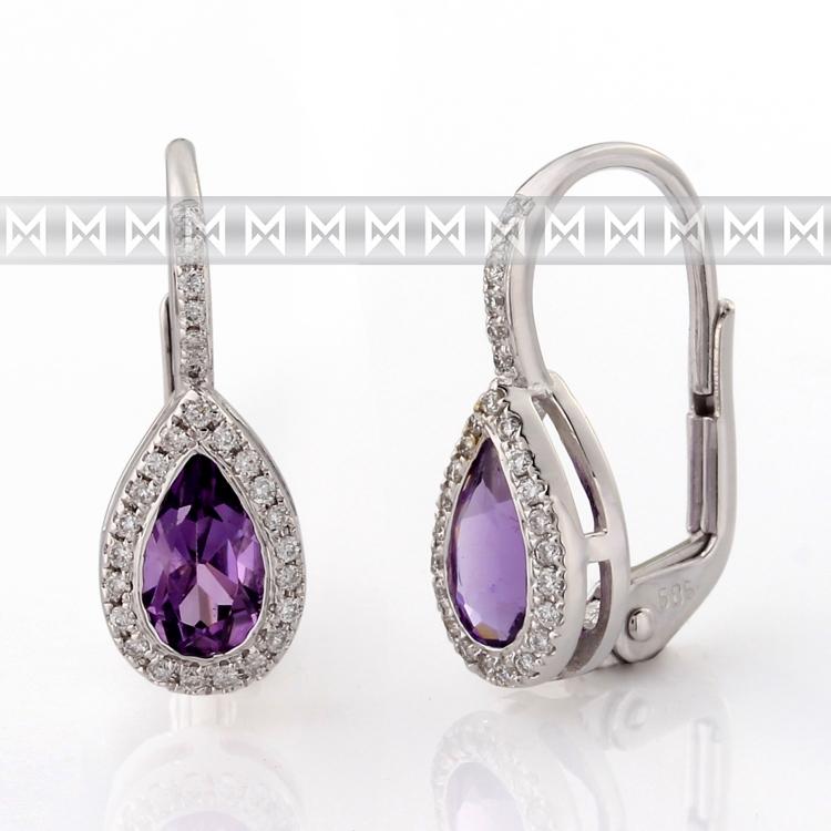 Diamantové náušnice, bílé zlato briliant, ametyst fialový 3880800-0-0-95