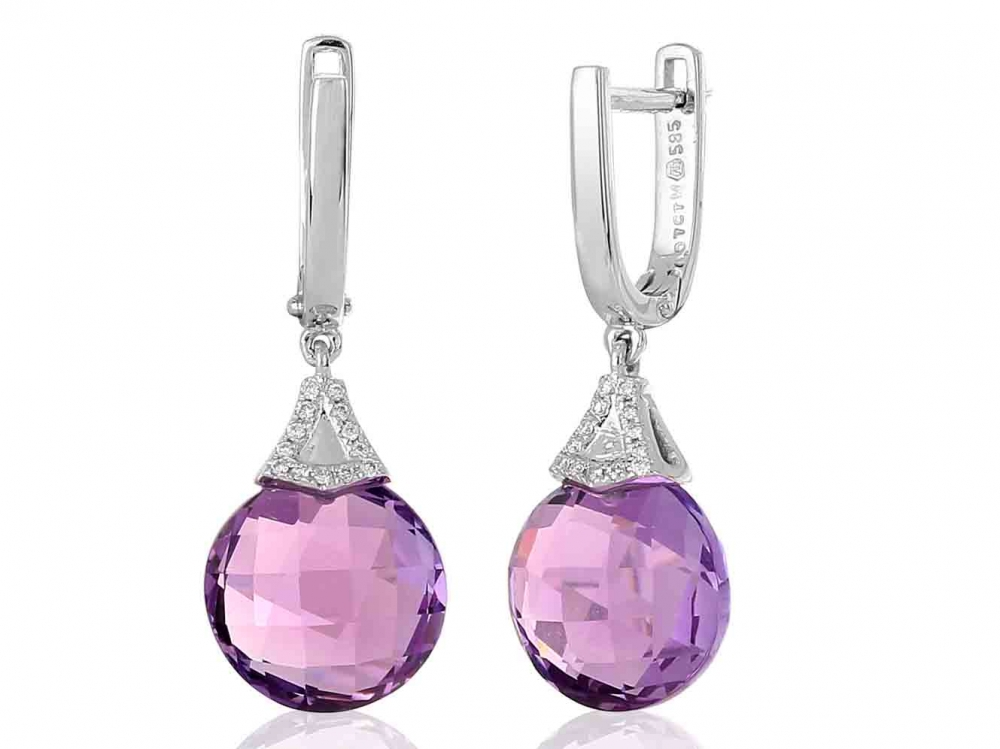 Diamantové náušnice, bílé zlato briliant, ametyst fialový 3880359-0-0-95