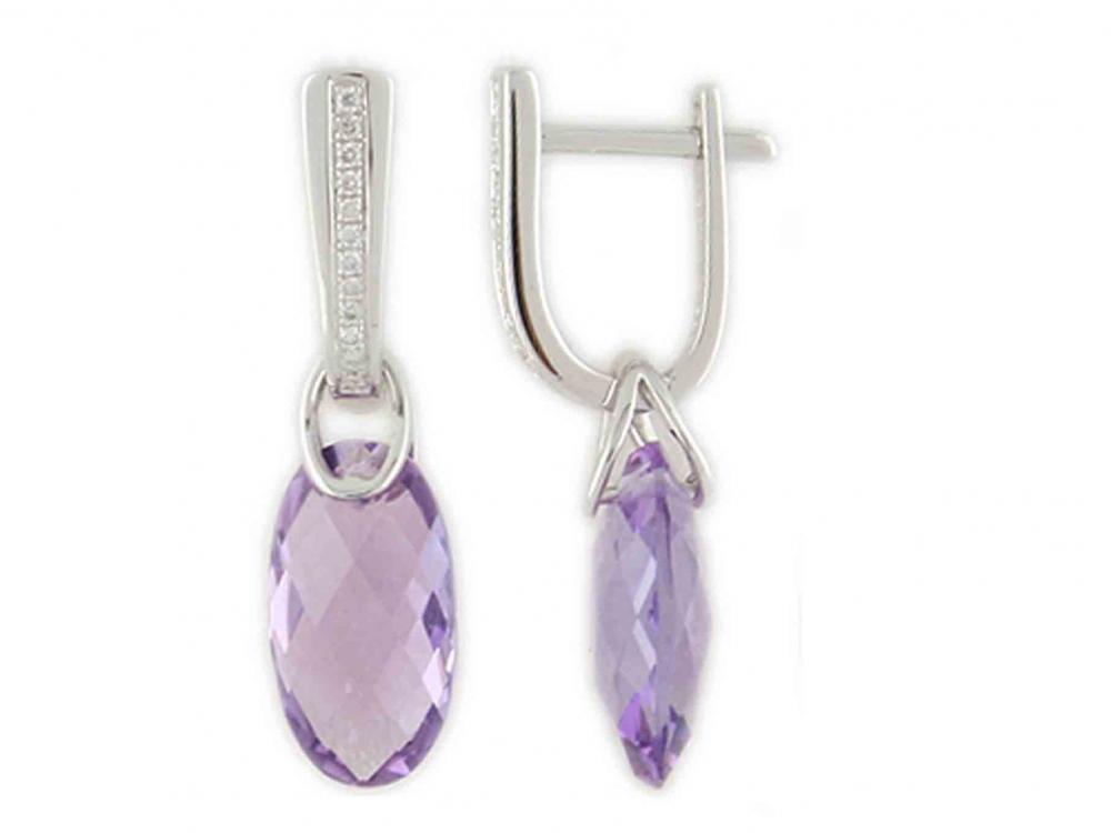 Diamantové náušnice, bílé zlato briliant, ametyst fialový 3880320-0-0-95
