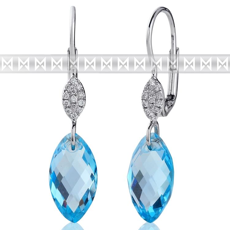 Diamantové náušnice, bílé zlato briliant, modrý topaz (blue topaz) 3880367-0-0-