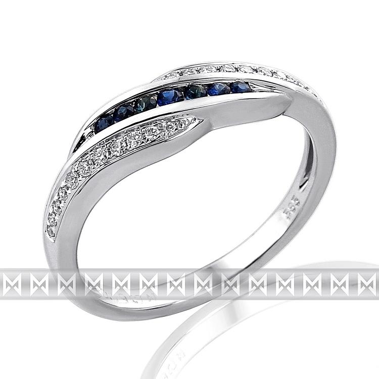 Nádherný diamantový prsten posetý diamanty a modrými safíry 585/2,65 gr